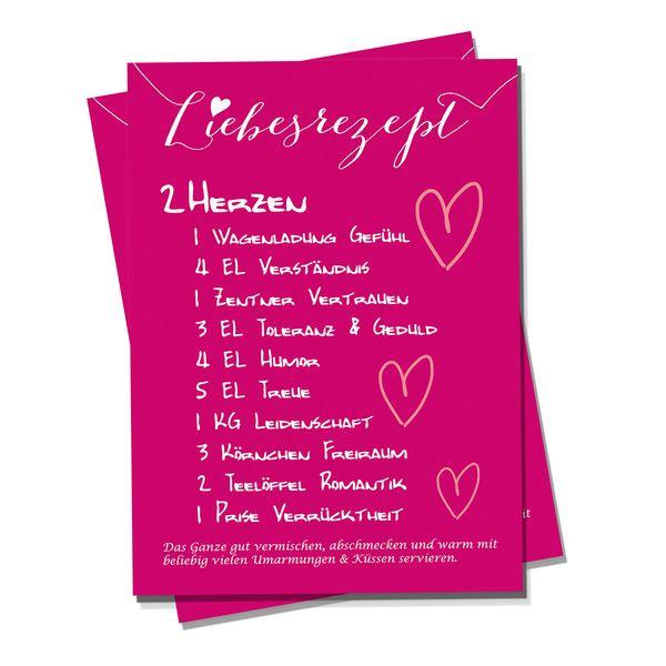 Valentinstagskarten - Karte Liebesrezept - ein Designerstück von Polarkind bei DaWanda
