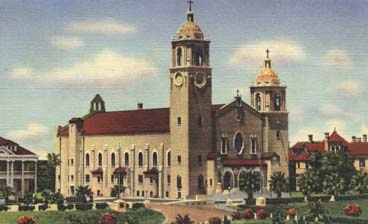 Corpus Christi Cathedral, CorpusChristi Texas [I took shelter here during the first half of Hurricane Allen, until the calm eye of the storm, when I ran with a friend to his brother's house.  This was a bad idea, for there were live power lines broken & flailing about.  I am not Catholic, but, did attend church services that day.