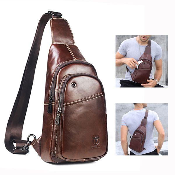 Sale 25% (39.6$) - Bullcaptain® Men Buisness Casual Genuine Leather Chest Bag Crossbody Bag