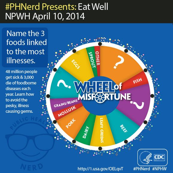 Eat well and with confidence. Food safety depends on strong partnerships. CDC and its partners @U.S. Food and Drug Administration, USDA, and state and local public health agencies track, investigate, and limit the spread of foodborne illnesses. Complete the #NPHW Foodborne Illness quiz and assume #PHnerd status.