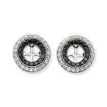 14k White Gold Black & White Natural Diamond Earrings Jackets