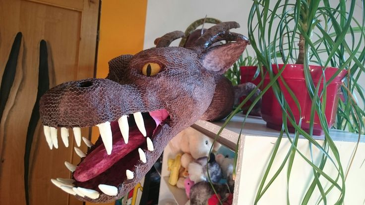Dragon, paper mache, homemade, diy