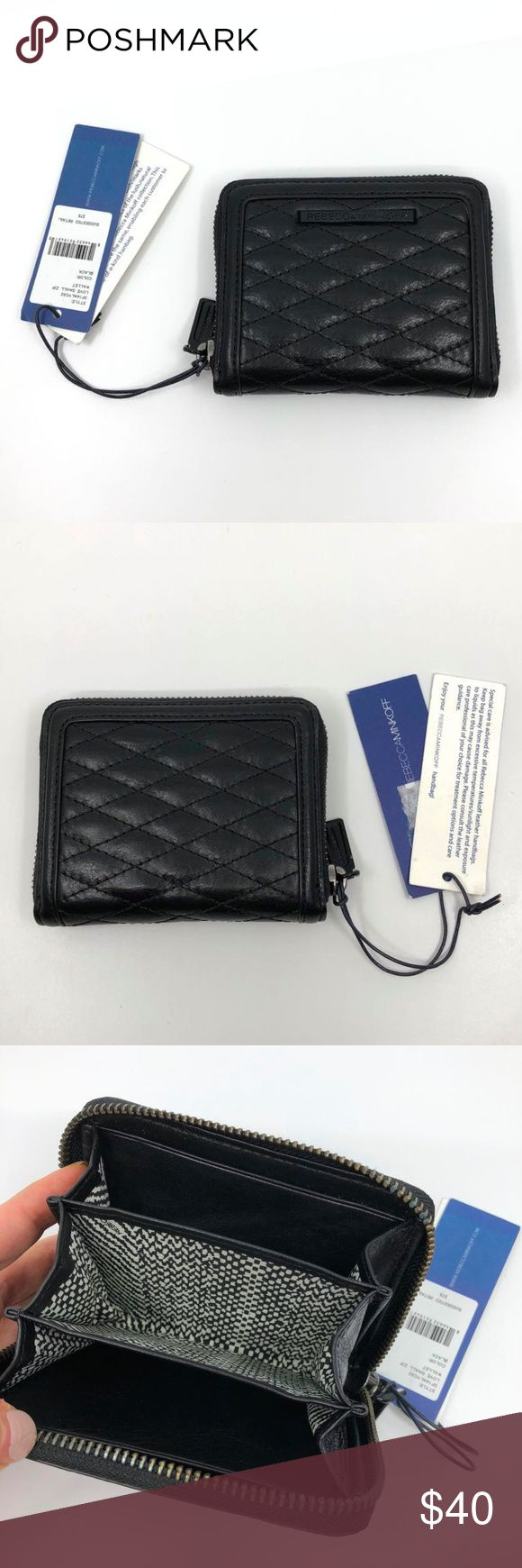 "RARE Rebecca Minkoff Love Small Zip Wallet Blk x 2 NWT Rebecca Minkoff Love Small Zip Wallet in Black Leather with BLACK HARDWARE (<- rare part.) $75 MSRP  The regular version comes with gold hardware; this one is more understated/reminiscent of Chanel's So Black Boy bag. (Zipper teeth are dark neutral color.)  Quilted leather brings luxe edge to this zippered Rebecca Minkoff wallet.   - Lined interior with accordion gussets, 3 compartments, and 2 pockets. - Leather: Cowhide. - Approx. 4.75""…"