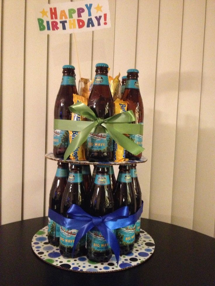 Beer Bottle Cake With Mini Candy Bars Gift Ideas Beer
