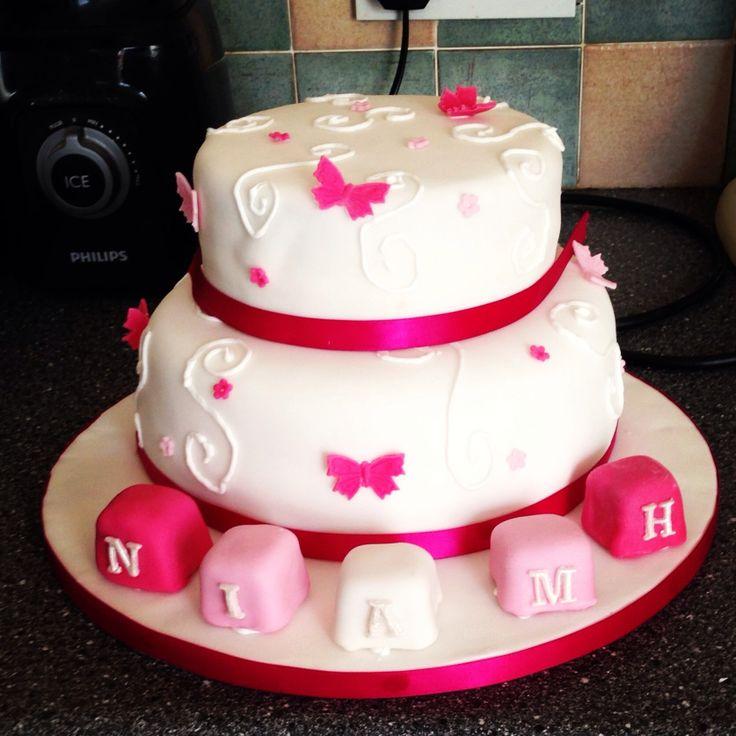 Goddaughters christening cake - top tier chocolate - bottom tier victoria sponge