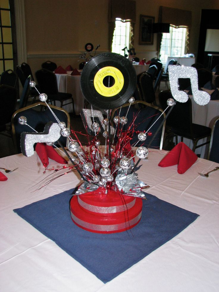 Rock n 39 roll centerpiece by the party girl events fundraiser american bandstand pinterest - Rock and roll theme party decorations ...