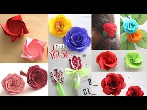 8 Diy Paper Roses Paper Flowers Tutorial Youtube Paper