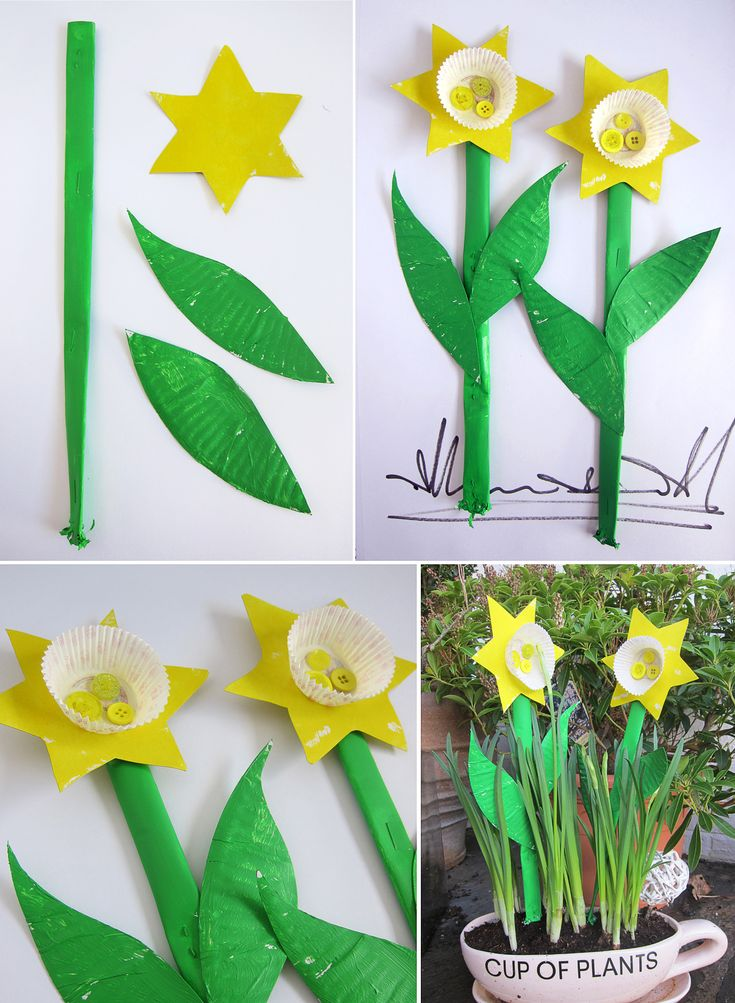 Paper Plate Cupcake Daffodils: A simple 5 minute craft to brighten up everyone's day – all you need are some paper plates, mini cupcake liners, buttons and some paint. For the stems we just rolled up A4 sheets of paper, stapled them closed and painted.  Molly gave each flower a little spritz of daddy's aftershave when they were finished – sniff sniff, yeah :)