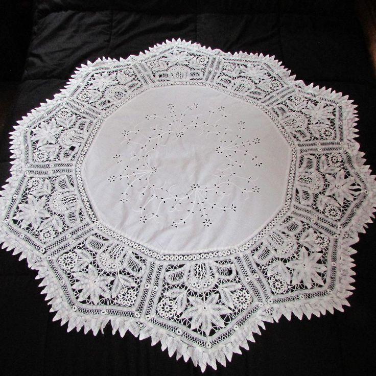 "Victorian Battenburg Lace Tablecloth  50"" Diameter Shield Shape Lace Panels Vintage Tablecloth Victorian Linens by LadysSlipperVintage on Etsy"