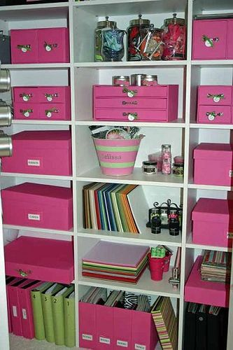 organization and pink and green makes me happy love this