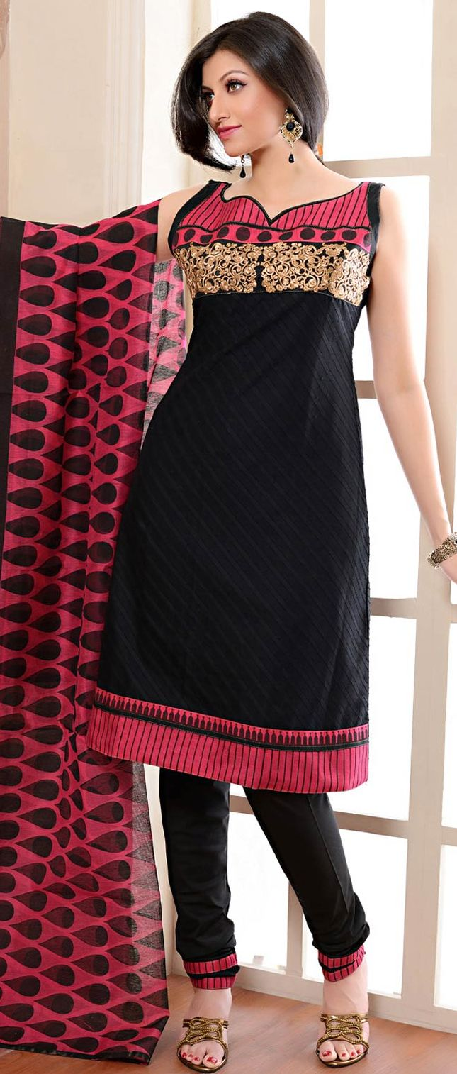 Black Cotton Jacquard #Churidar #Kameez With Dupatta @ $62.5