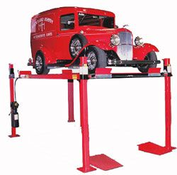 The perfect car lift for your home garage comes in three versions including an extended height version that gives you a full 7 feet of clearance under the lift platform and an extended length version!