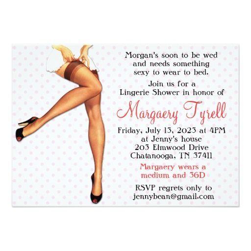 "Vintage Pin Up Lingerie Shower Bridal Shower Card 5"" X 7"" Invitation Card - girls in lingerie, lingerie costumes, plus size lingerie *ad"