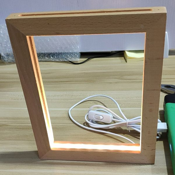 Custom Made 3d Led Photo Frame Lamp Wood Frames Diy Wooden Light Diy Photo Frames