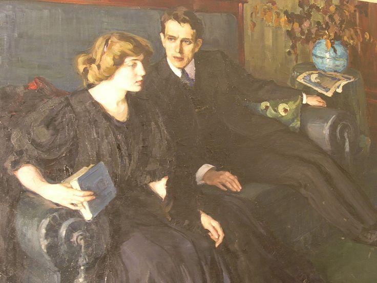 Загадка двойного портрета - С первого взгляда... Большое полотно, около двух метров, было написано в 1910-х годах, картина экспонировалась и была репродуцирована в журнале. Женщина и Мужчина - извечная тема...