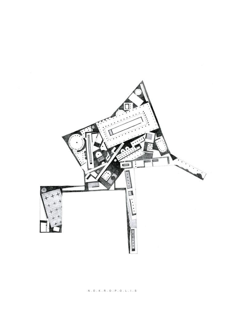 Drawing ARCHITECTURE          | Arakelyan Ruben, N.E.K.R.O.P.O.L.I.S., pencil, 42x...