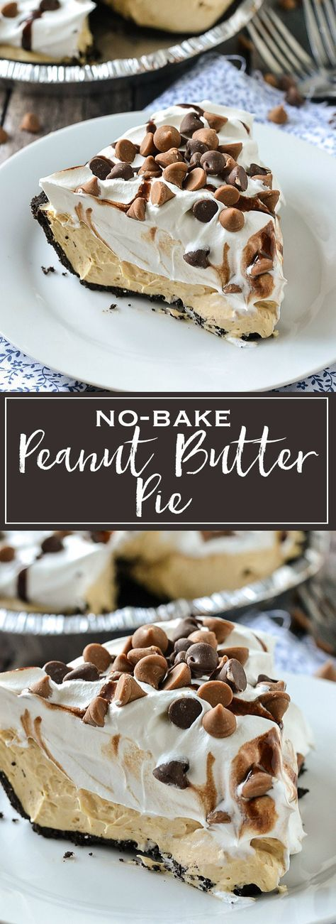 No-Bake Peanut Butter Pie - takes minutes to make with just a few ingredients! If you love peanut butter this is one pie you'll absolutely love!
