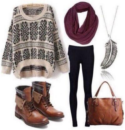 Outfit for school / tenue d'ecole/college/lycee ( pull beige/noir ~ legging noir ~ bottines et sac caramel ~ écharpe tube bordeau ~ collier argentés )