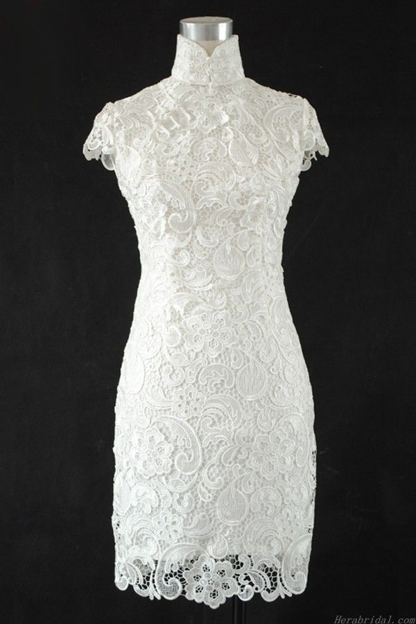 Beautiful Column/Sheath Lace Short Chinese Wedding Dress