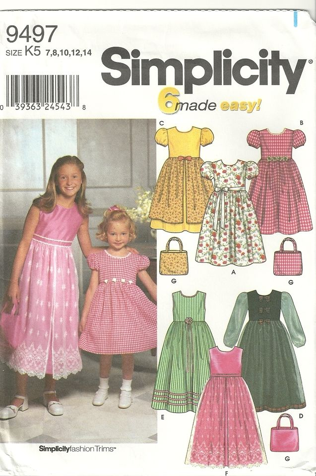 Simplicity 9497 Flower Girl Easter Petticoat Dress Purse