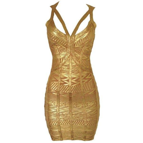 Gold Worshiper Bandage Dress (130 BAM) ❤ liked on Polyvore featuring dresses, gold bandage dress, gold dress, yellow gold dress, bandage dress and brown dress