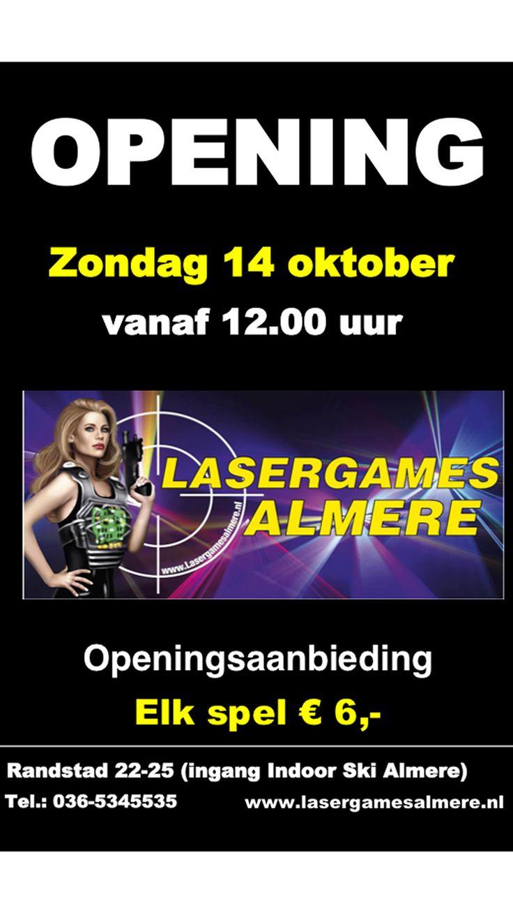 Openingsaanbieding €6,- PER SPEL, Lasergames Almere, Zondag 14 okt 12:00 uur, 036-5345535 #Almere #Indoorskialmere www.lasergamesalmere.nl