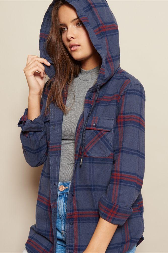 Hooded Boyfriend Flannel Shirt Garage ClothingCat