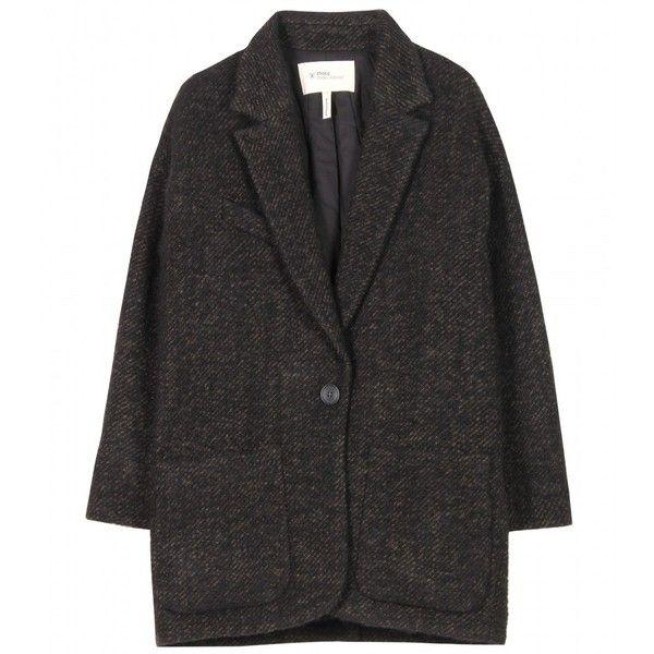 Étoile Isabel Marant Xavier Oversized Jacket ($385) ❤ liked on Polyvore featuring outerwear, jackets, coats, coats & jackets, women, army green blazer, green camo jacket, olive green jacket, one button blazer and olive green blazer