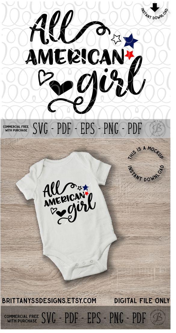 All American Girl SVG, Svg files, Silhouette Cameo, Cricut, July 4th