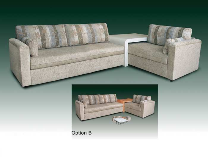 just a corner table that one twin bed can slip under no need for the actual couch backs and sides