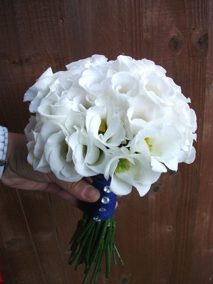 White single lisianthus hand tied bouquet