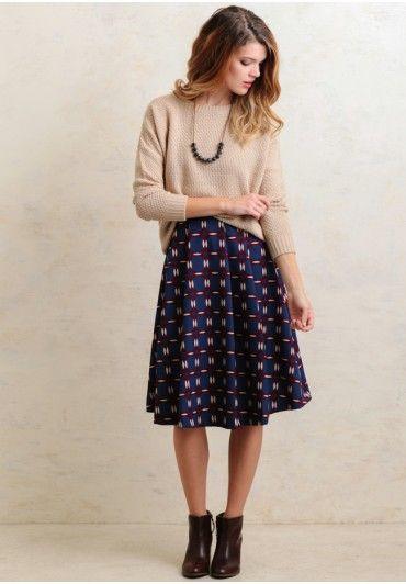 Starting Fresh Printed Skirt   Modern Vintage Clothing   Ruche