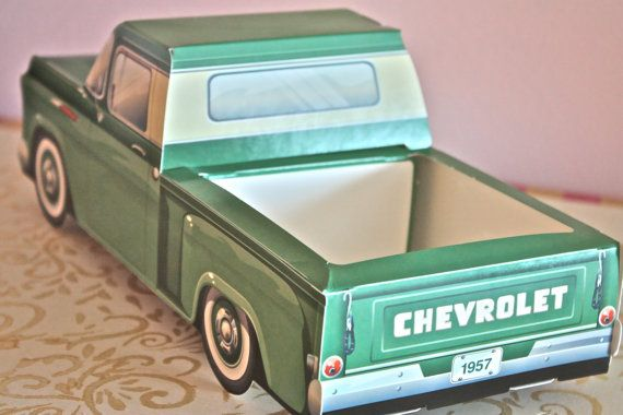 1957 Green Chevy truck box-cute kids meal box-kids snack box-car meal box-kids car lunch box-kids birthday favor boxes-kids favor boxes