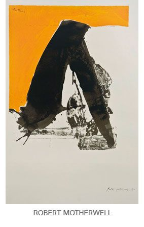 mustard yellow white black abstract, looks like bending over/Yoga downward dog, Robert Motherwell