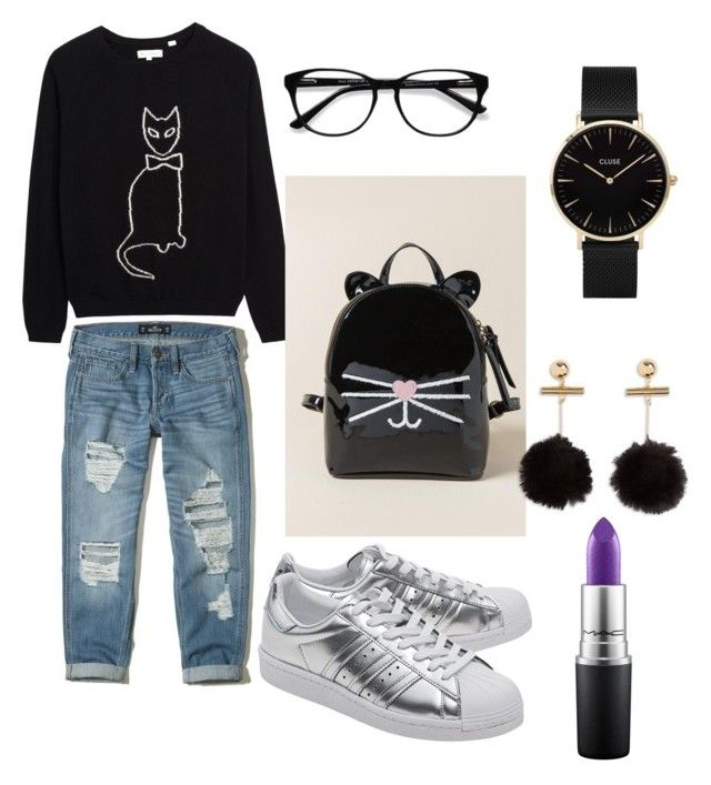 """""""Black cat"""" by gforfashion on Polyvore featuring Hollister Co., adidas Originals, Francesca's, CLUSE, MAC Cosmetics and EyeBuyDirect.com"""