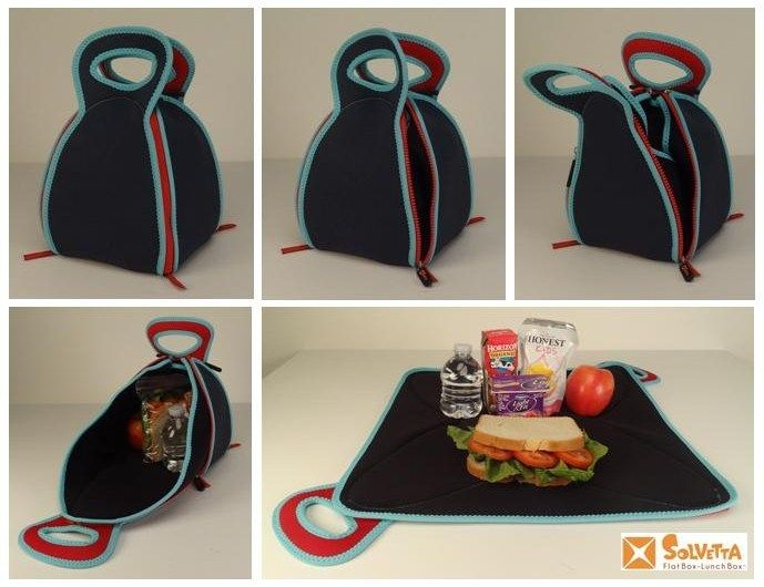 Innovative Flat-Box Lunch Box turns into a placemat for kids lunch and is 100%washable and re-usable. Such a GREAT idea!: