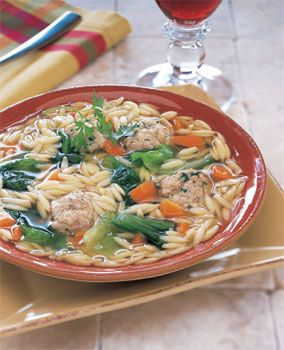Escarole and Orzo Soup with Turkey Parmesan Meatballs. (I used spinach ...