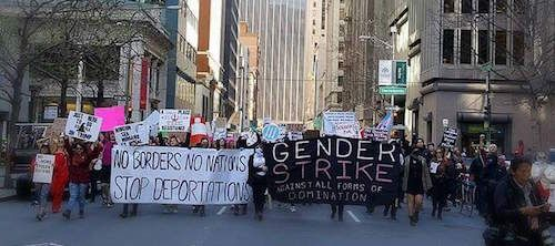 """Gender Strike, San Francisco, March 8 2017. viaIt's Going Down.  Feminist politics and movement making has a history of compulsively  repeating, reinforcing, and reconstructing systematic forms of exclusion, as well as shallow calls for inclusion. Women of color feminisms, transnational feminism, transfeminism, and feminist disability studies have all, in different ways and through various methodologies, critiqued and reframed the ways in which the category """"woman"""" is invoke..."""