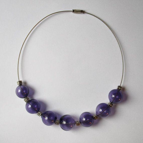 Necklace purple smoky blown glass. Very light от LikeAGlassShop