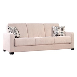 Comfortable and stylish, the transitional Trace Convert-a-Couch futon sofa features squared arms and converts into a full size bed with the touch of a hand. The futon sofa is covered in a durable khaki beige microfiber and works well in?any decor