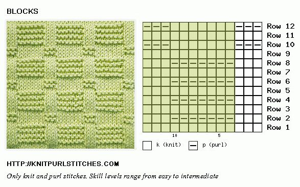 Knit and Purl. Reversible. Block stitch