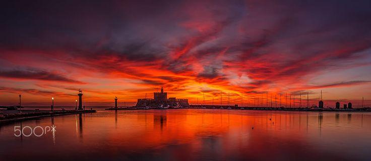 Amazing sunrise in Rhodes island Greece
