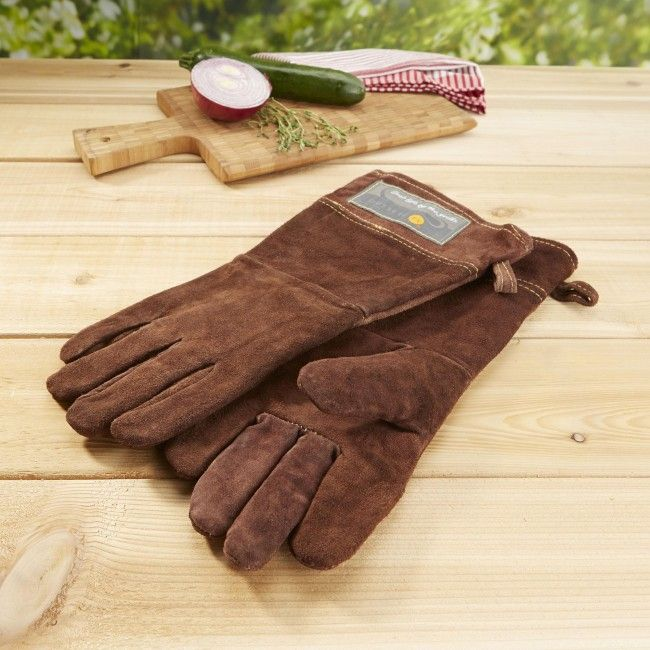 These leather grill gloves will keep your hands from cooking while you cook your dinner on the grill.