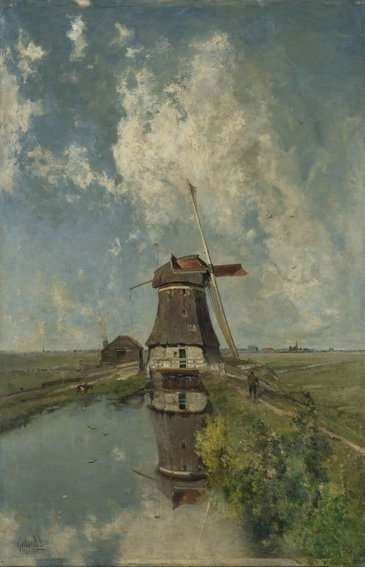 A Windmill on a Polder Waterway, Known as 'In the Month of July', Paul Joseph Constantin Gabriël, c. 1889 oil on canvas, h 102cm × w 66cm × d 14cm The artist seems to have blurred the fact that windmill is old and falling apart.  I think the artist wanted this piece to be romantic.  I can imagine the man coming home after being away for a long time.