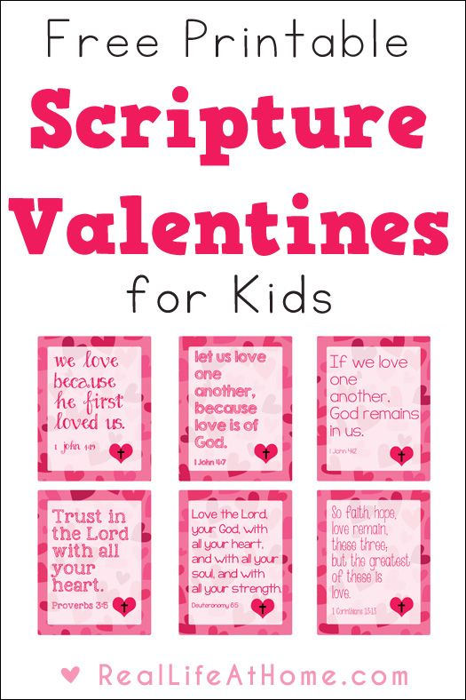 Looking to share some religious valentine cards this year? These free printable Scripture Valentines for kids are perfect for class or homeschool group parties, as well as to use as lunch box notes throughout the year. | Real Life at Home