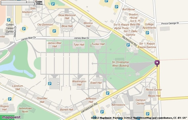 College of William and Mary, OSM Map of Williamsburg, Virginia
