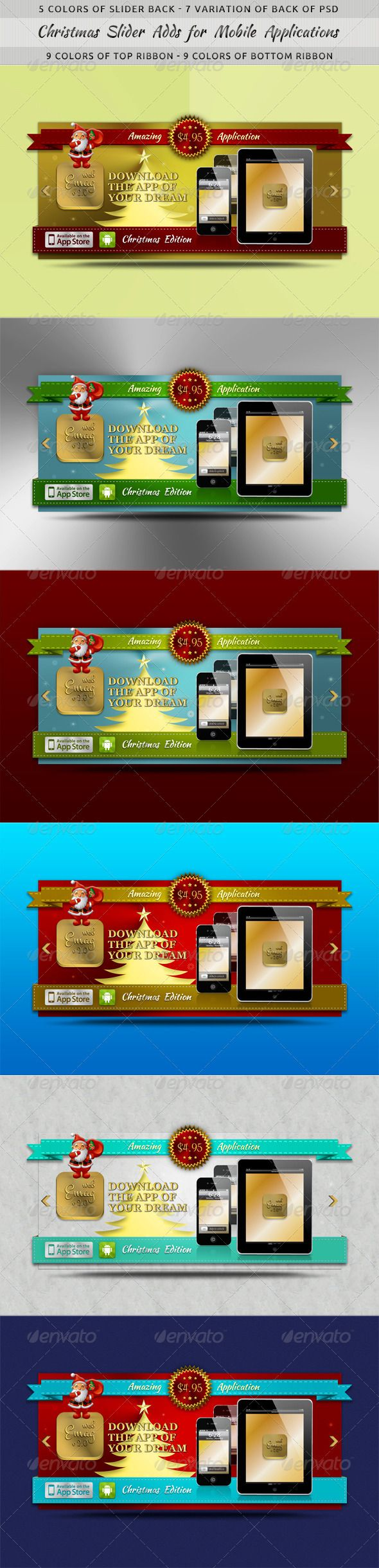 Christmas Slider Ads for Mobile Applications  #GraphicRiver         5 colors of Slider Back – 7 variation of Back of PSD   	 9 colors of Top Ribbon – 9 Colors of Bottom Ribbon  	 Just replace your Application icon.  	 Place your image in the iPad, iPhone: Vector Smart Objects.  	 Replace text and use this add with any color of ribbons, slider and back of header on you site  	 Enjoy!    	 See my Web Elements:     See my Photoshop Actions:    See my Photoshop Text Styles:                See my…