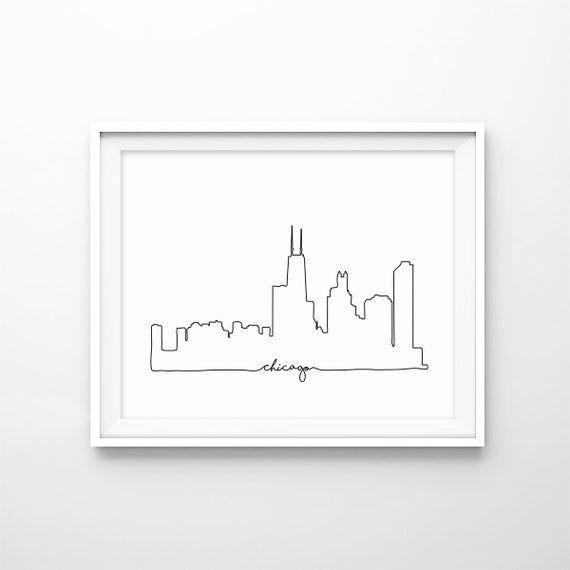 Chicago Skyline Print City Skyline Outline Poster City Etsy In 2021 City Prints City Outline City Skyline