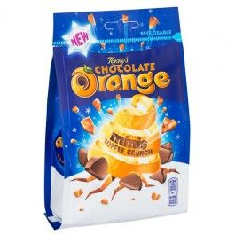 Real orange flavoured milk chocolate segments with a toffee crunch.
