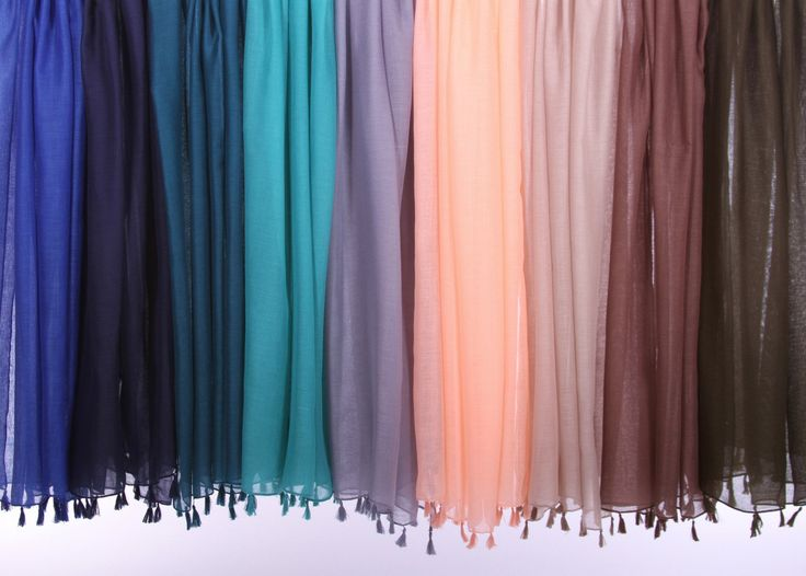 "100% Viscose. Very comfortable scarf with tassels on both ends. 71"" by 35"" (180 cm by 90cm) Hand wash, lay flat to dry recommended. Comes in 9 colors- Royal Blue, Navy, Teal, Turquoise, Grey, Peach, K"